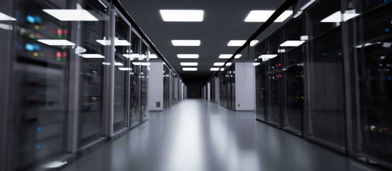 Server room, modern data center. 3D illustration