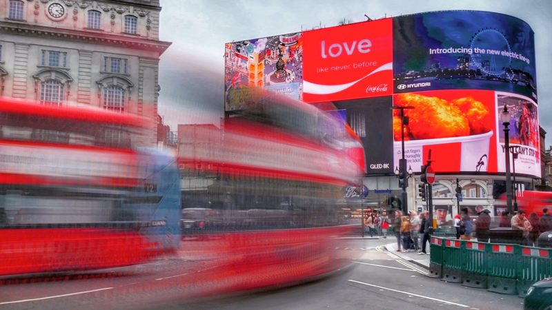 Brands on display at Piccadilly circus